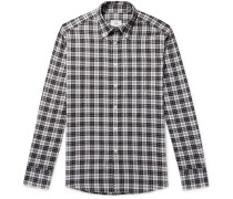 Button-down Collar Checked Cotton-flannel Shirt - White