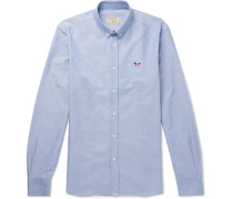 Button-down Collar Logo-embroidered Cotton Oxford Shirt - Blue
