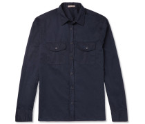 Slim-fit Garment-dyed Cotton-poplin Shirt