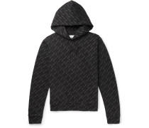 Slim-fit Logo-print Loopback Cotton-jersey Hoodie - Black