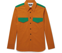 Contrast-trimmed Cotton-gabardine Shirt - Orange