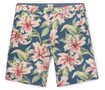 Slim-fit Floral-print Linen-blend Shorts - Blue
