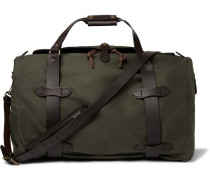Leather-trimmed Twill Duffle Bag - Green
