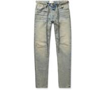 Slim-Fit Tapered Distressed Denim Jeans