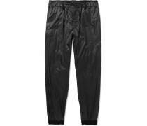 Tapered Velvet-trimmed Shell Track Pants - Black
