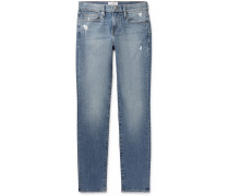 L'homme Slim-fit Distressed Denim Jeans - Blue