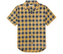 BBQ Camp-Collar Printed Organic Cotton and Hemp-Blend Shirt