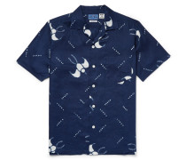 Slim-fit Camp-collar Printed Cotton-gauze Shirt