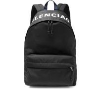 Logo-embroidered Canvas Backpack