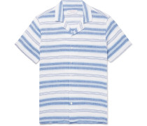 Travis Camp-collar Striped Linen And Cotton-blend Shirt - Blue