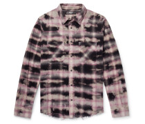 Distressed Tie-dyed Checked Cotton-flannel Shirt