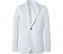 Sky-blue Soho Slim-fit Unstructured Cotton Blazer - Blue