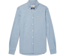 Slim-fit Button-down Collar Cotton-chambray Shirt - Light blue