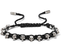 Silver-tone Skull And Leather Bracelet - Black