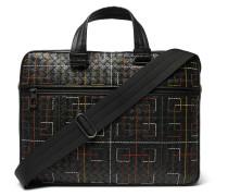 Embroidered Intrecciato Leather Briefcase