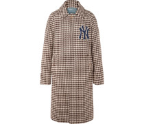 + New York Yankees Appliquéd Houndstooth Wool-blend Coat