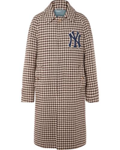+ New York Yankees Appliquéd Houndstooth Wool-blend Coat - Brown