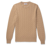 Contrast-tipped Cable-knit Cashmere Sweater - Beige