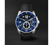 Calibre De Cartier Diver Automatic 42mm Stainless Steel And Leather Watch - Blue