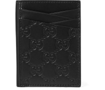 Embossed Leather Cardholder - Black