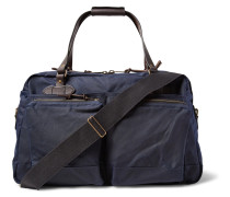 48-hour Leather-trimmed Tin Cloth Duffle Bag - Navy