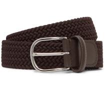 3.5cm Brown Leather-Trimmed Woven Elastic Belt