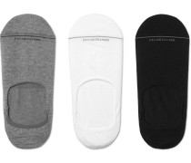 Three-pack Invisible Touch Stretch Pima Cotton-blend No-show Socks - Multi