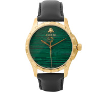 Gold Pvd-coated And Leather Watch