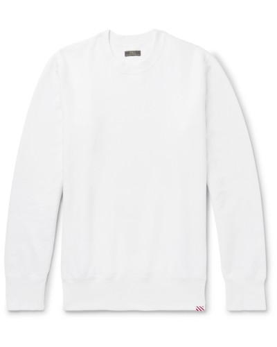 Fleece-back Cotton-jersey Sweatshirt - White