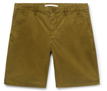Aros Slim-fit Garment-dyed Cotton-twill Shorts