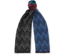 Fringed Colour-block Wool Scarf - Multi