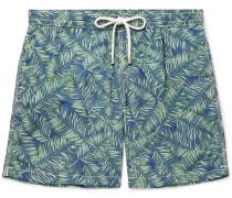 Mid-length Printed Swim Shorts - Green