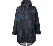 Oversized Camouflage-print Coated-cotton Hooded Parka - Navy