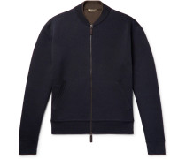 Double-faced Silk And Cotton-blend Zip-up Cardigan - Midnight blue
