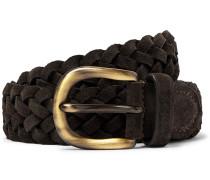 4cm Dark-brown Woven Suede Belt - Brown