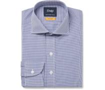 Easyday Cutaway-collar Gingham Cotton-poplin Shirt - Navy