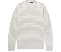 Striped Cotton-blend Bouclé Sweater