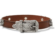 Burnished-leather And Silver-tone Bracelet - Brown