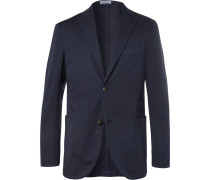 Storm-blue Unstructured Stretch Cotton And Linen-blend Suit Jacket