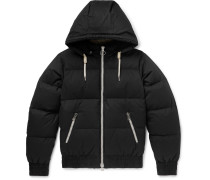 Quilted Cotton-shell Hooded Down Jacket - Black