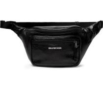 Arena Creased-leather Belt Bag - Black
