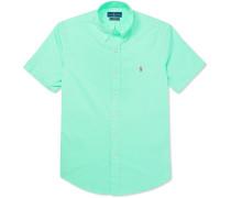 Slim-fit Garment-dyed Button-down Collar Cotton-twill Shirt