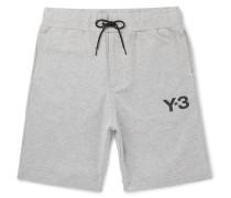 Logo-print Mélange Stretch-cotton Jersey Shorts