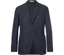 Navy Linen And Cotton-blend Blazer