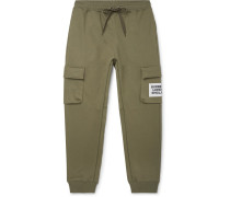 Tapered Logo-print Loopback Cotton-jersey Sweatpants - Green