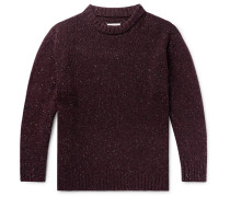 Oversized Donegal Wool-blend Sweater - Burgundy