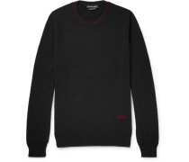 Logo-embroidered Cashmere Sweater - Black