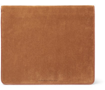 Suede And Full-grain Leather Pouch - Tan
