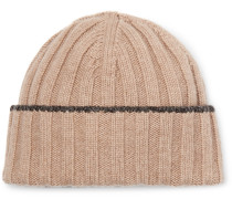 Contrast-tipped Ribbed Wool Beanie - Cream