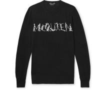 Slim-fit Skeleton-intarsia Wool Sweater
